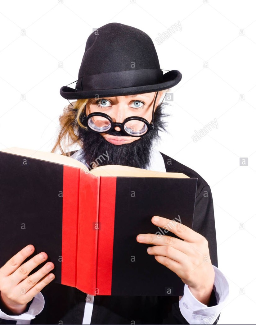 woman-in-disguise-wearing-black-bowler-hat-fake-beard-and-mustache-DTKJDF_2